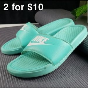 Nike Slides Turquoise Mens 8 Preowned